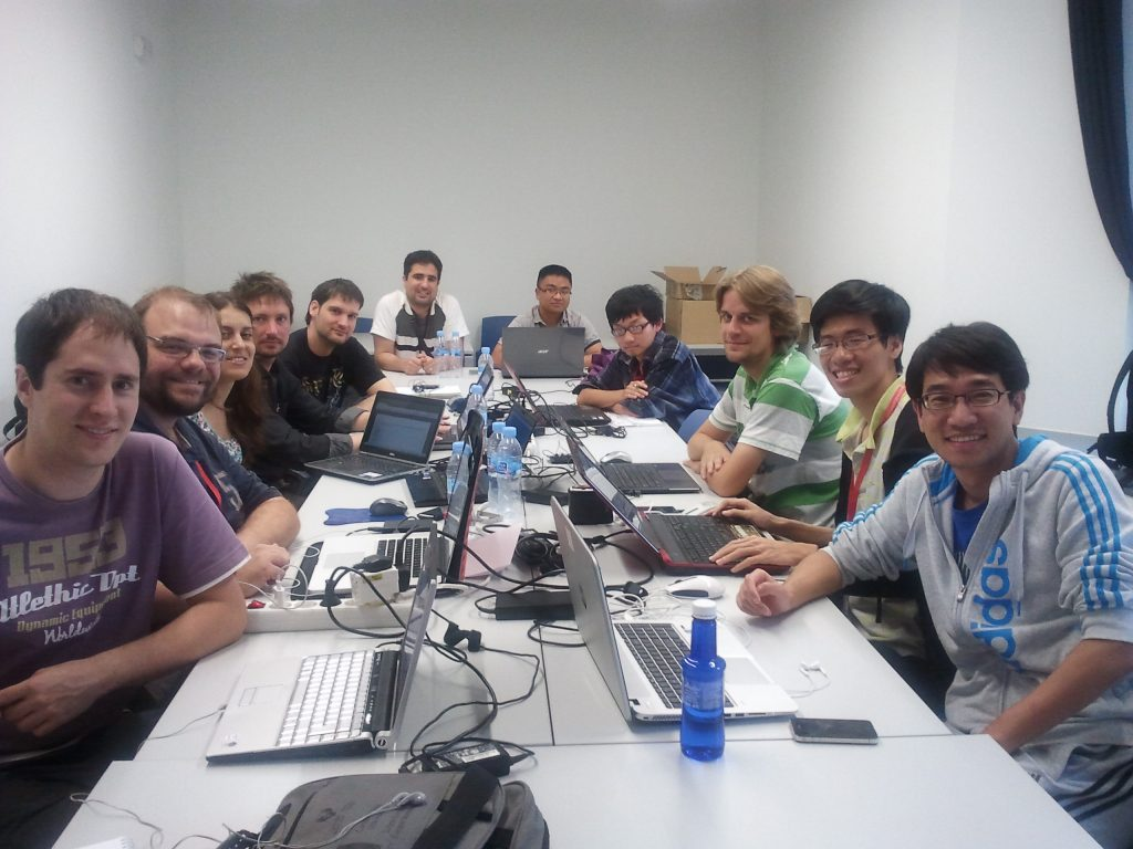 From left to right: Haritz Arzelus, Rubén Pérez Ramón, Carmen Magariños, Igor Jauk, Agustín Alonso, Daniel Erro (the first project leader), Jianpei Ye, Xin Wang, Martin Sulír, me and Xiaohai Tian