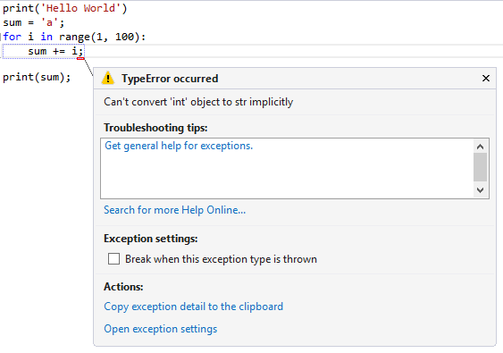 Break on Exception in Visual Studio